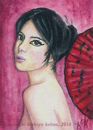ACEO - BEAUTIFUL WOMAN, ORIGINAL ACRYLIC PAINTING