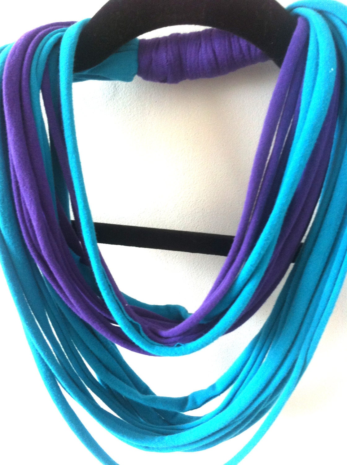 Blue and Purple Upcycled T-shirt Infinity Scarf