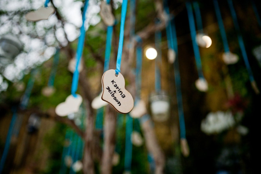 Wood Heart Wishing Tree Tags SET of 100 Rustic Chic Wedding Morgann Hill Designs