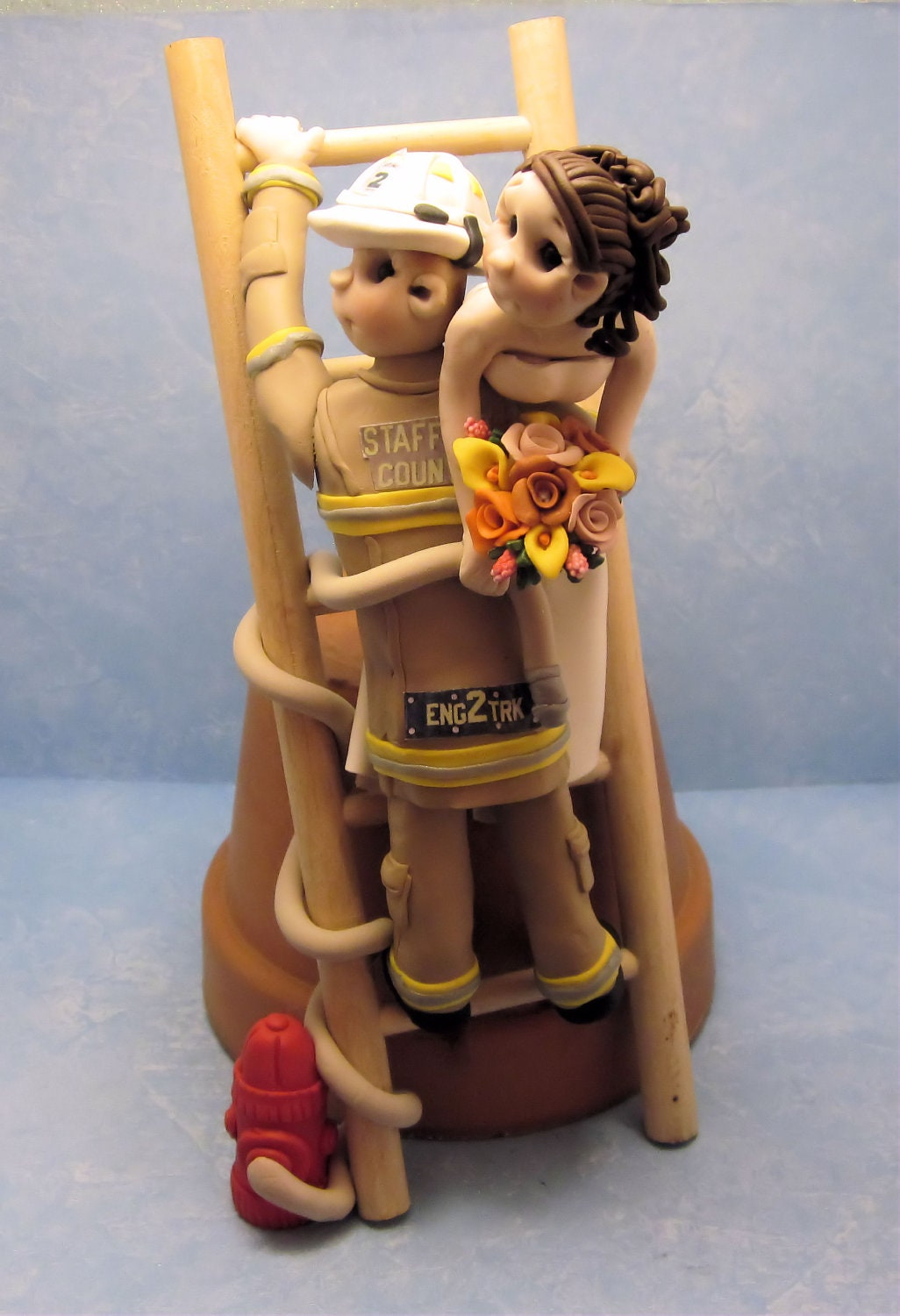 Bride And Groom Fireman Cake Topper For By Lynnslittlecreations