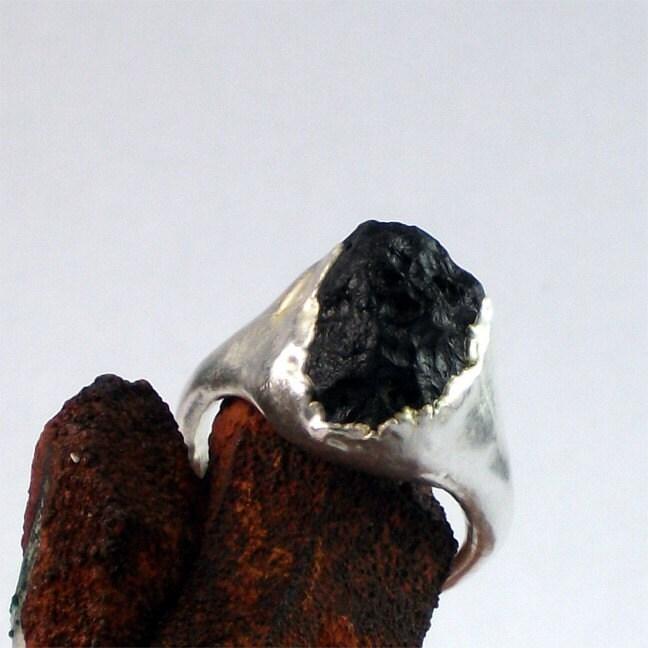 Silver Ring Tektite Natural Glass Black Ebony Artisan Raw Natural