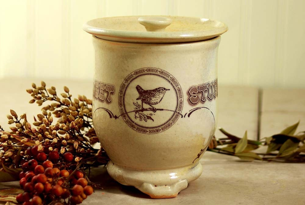 Kitchen Decor Small Canister With Bird Drawing By Mudstuffing