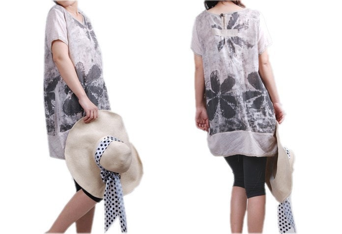 Sunflower hearts / Cotton Short sleeve Long shirt