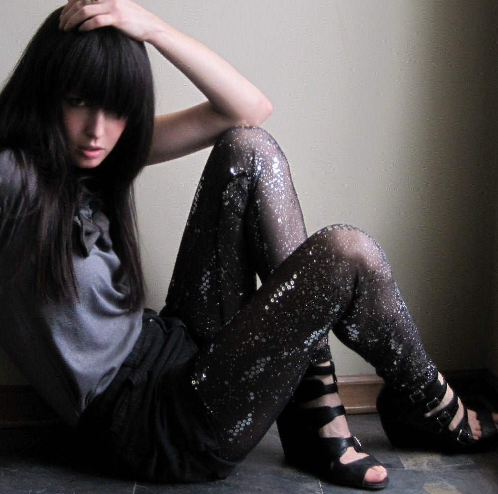 Love/hate relationship - embellished leggings, sheer black, sequins - small medium large