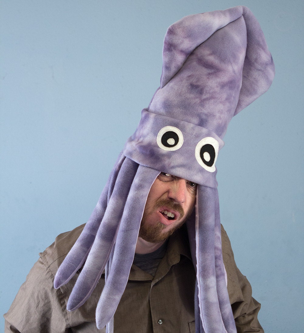 Large Fleece Squid Hat Purple Tie-Dye by ObeyMyBrain on Etsy