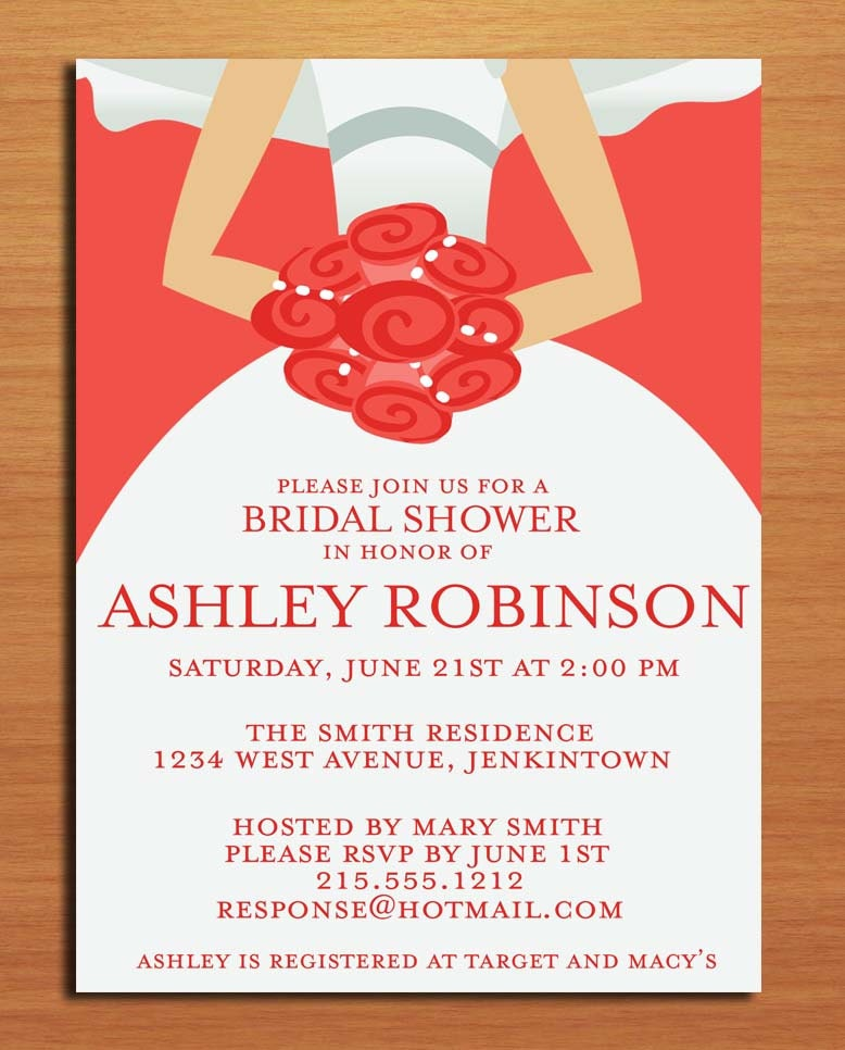 ... Comes the Bride Bridal Shower Customized Printable Invitations / DIY