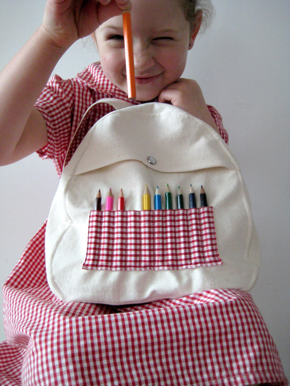 Red Gingham Baby & Toddler Backpack with Mini Pencils - 1-4 yrs - leonandcoco