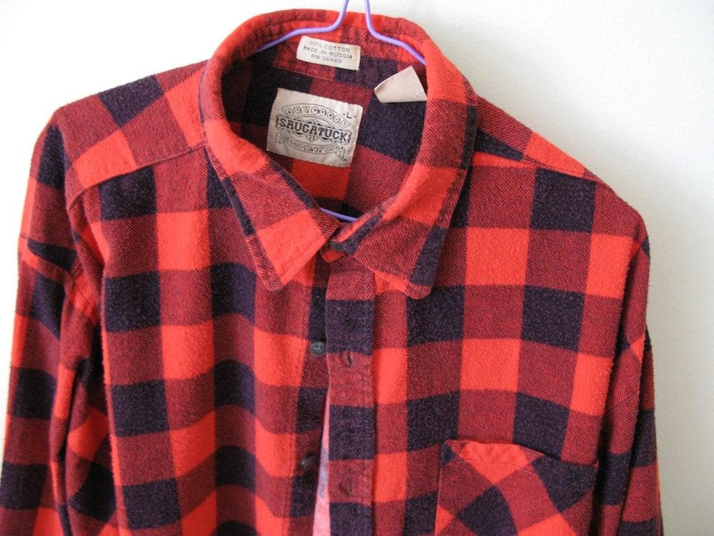 Red Black Plaid Buffalo Plaid Flannel Shirt By