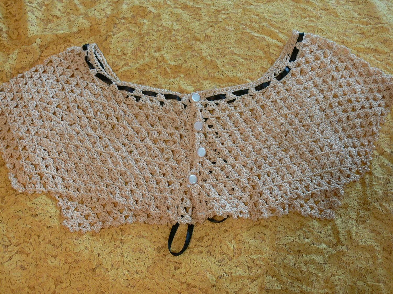 Vintage Mão Crochet Colar Fita Botões Ecru