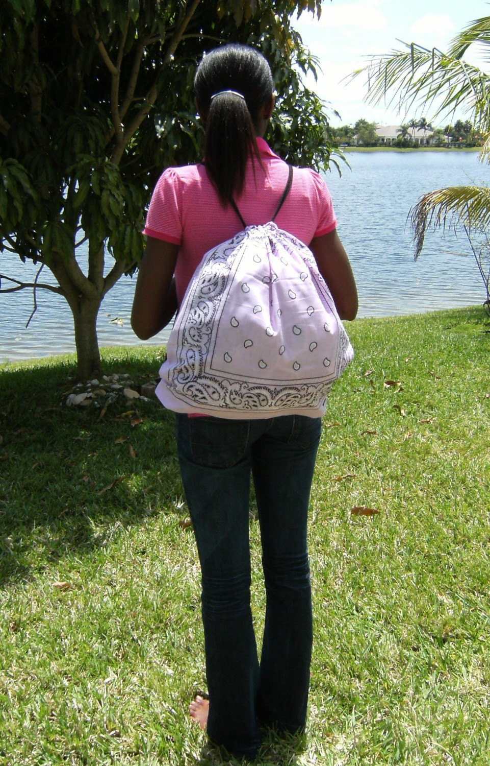 Pink Bandana Backpack by ParadiseInt on Etsy from etsy.com