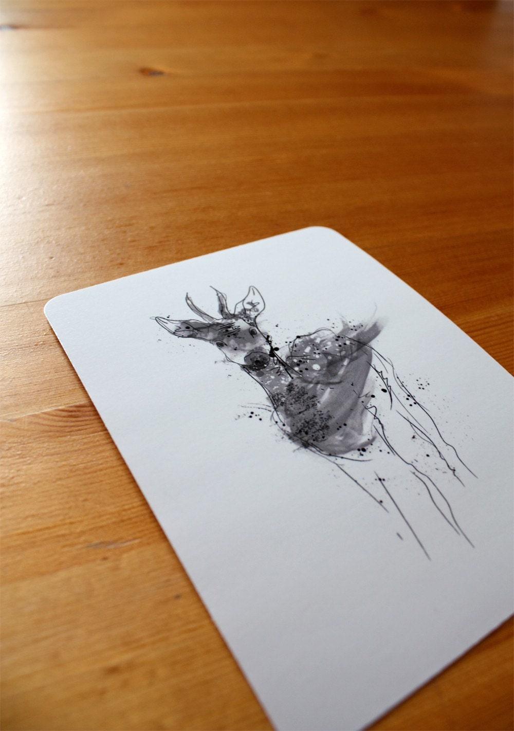 One Whimsical Woodland Deer Postcard