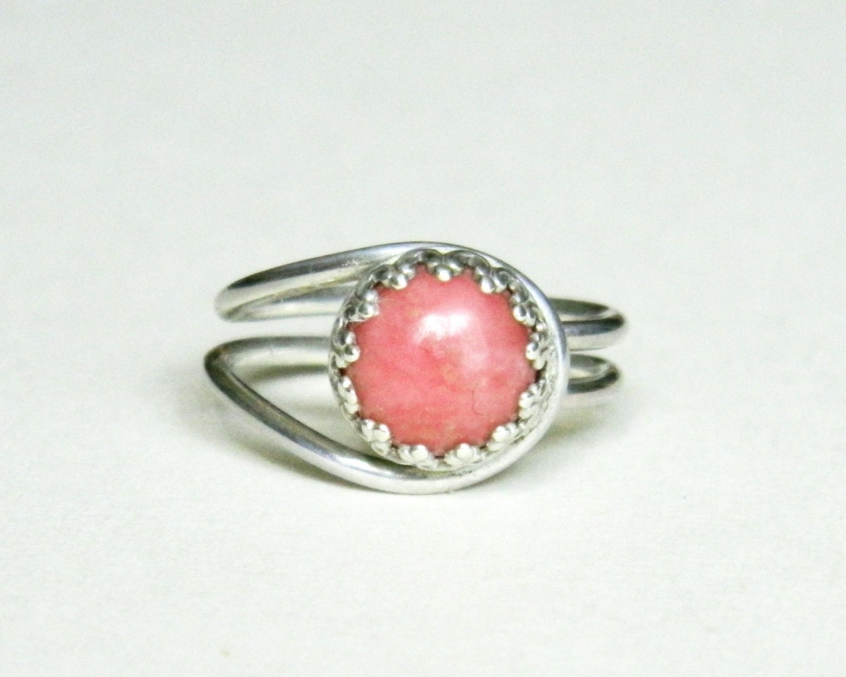 pink rhodonite ring sterling silver eclipse ring - cowriegirl