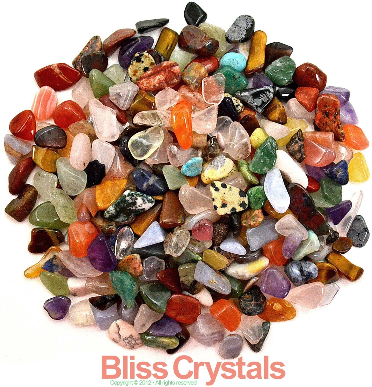 """250 Mixed XS All Natural Mini TUMBLED STONES Size 2 """"Not Dyed"""" - Healing Crystals, Medicine Bag, Reiki, Feng Shui, Jewelry & Crafts - BlissCrystals"""