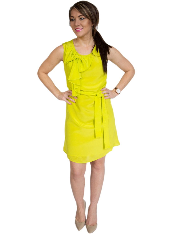 Comfortable a line strapless sweetheart ruched beads working chiffon mini wedding yellow dress