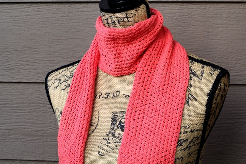 Knitted Scarf Pattern PDF Lace Scarf by DishclothDivaKnitsOn
