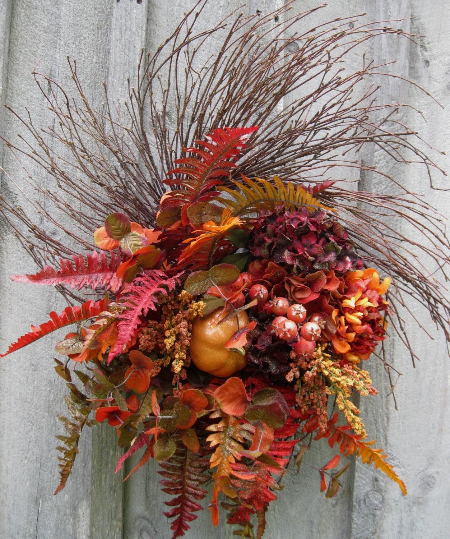 Fall Wreath, Autumn Designer Wreath, Thanksgiving, Harvest, Elegant Holiday Wreath - NewEnglandWreath