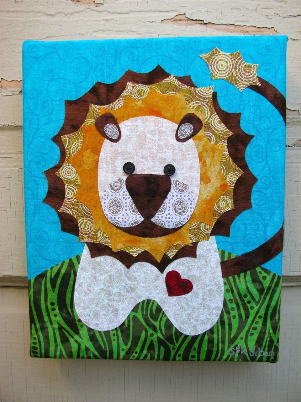 Little Lion - Fabric collage wall art - NO FRAME NEEDED