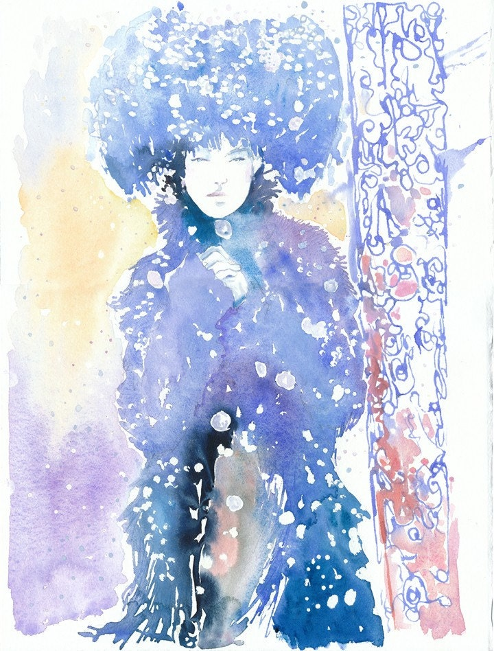 Watercolor Fashion Illustration - Russian Snow