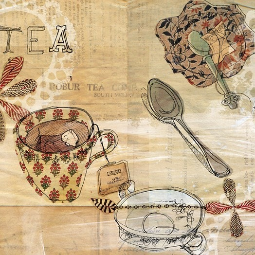strong tea pattern 7x7 art print