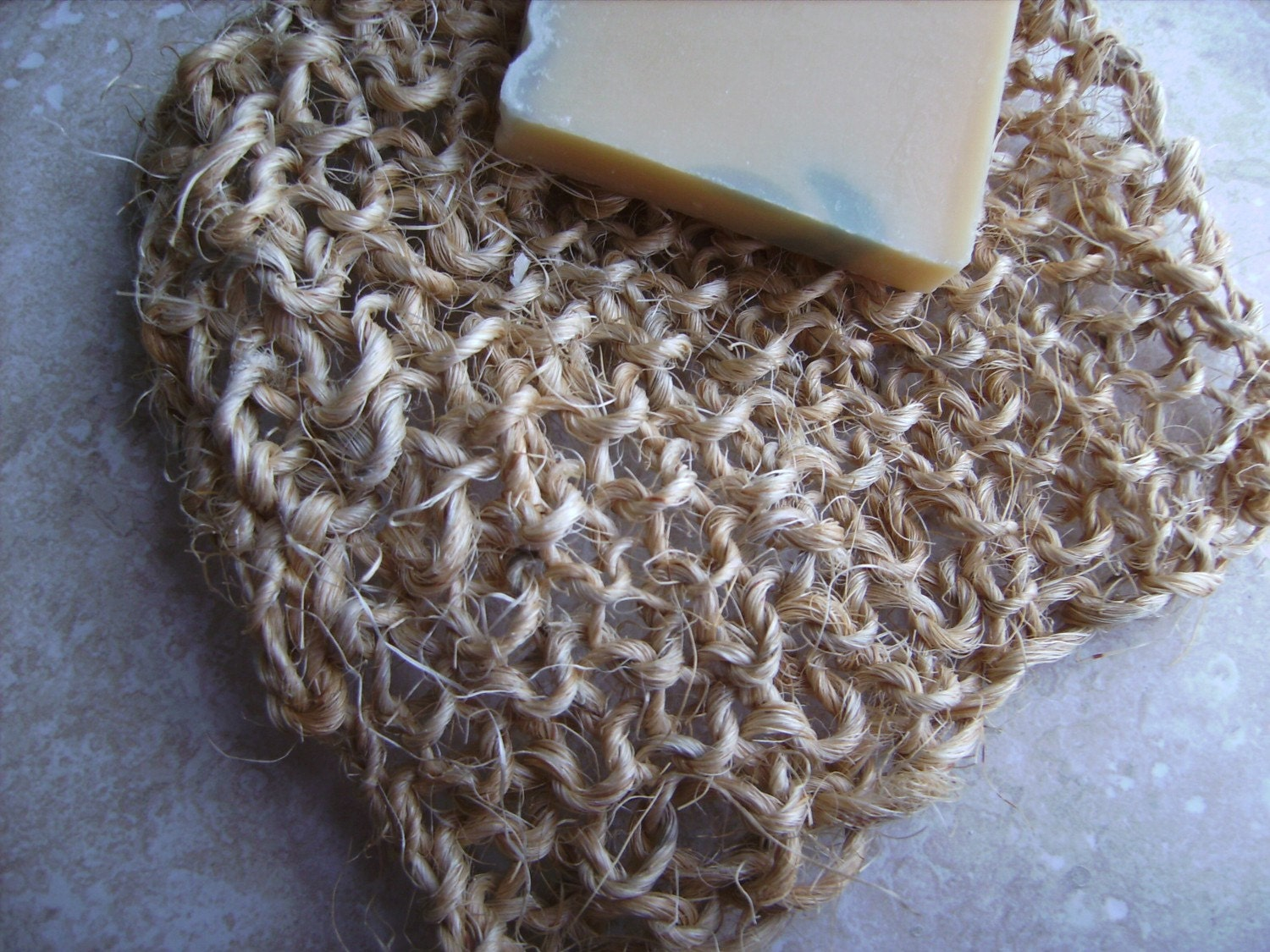 Organic Hand Knit Exfoliating Sisal Bath or Shower Scrub Massage Washcloth Pad