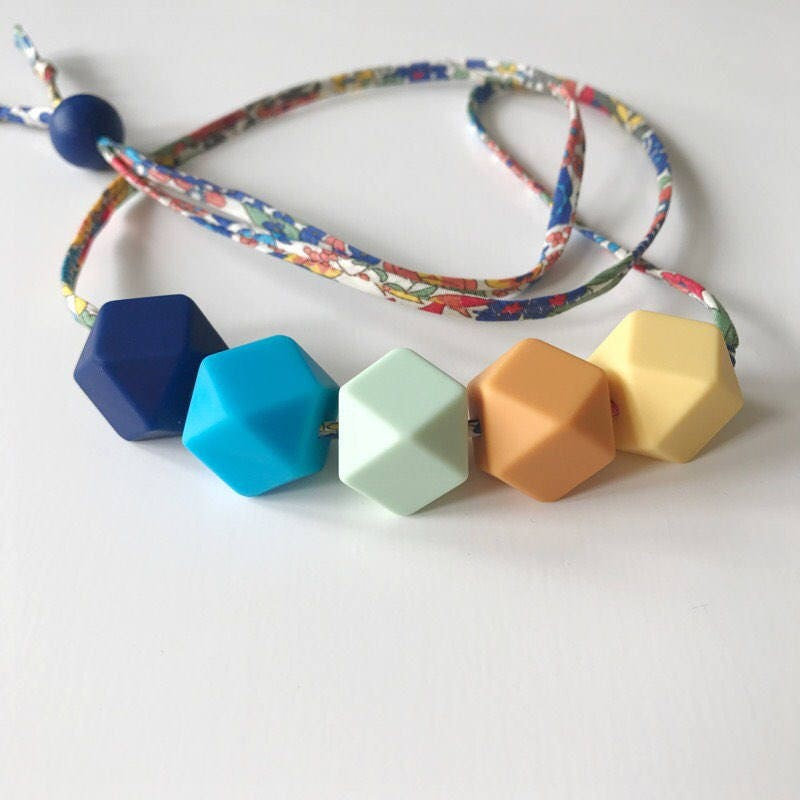 birdy and pearl teething nursing necklace in Libertys Margaret Annie   yellow mango mint blue beads  FREE UK pp