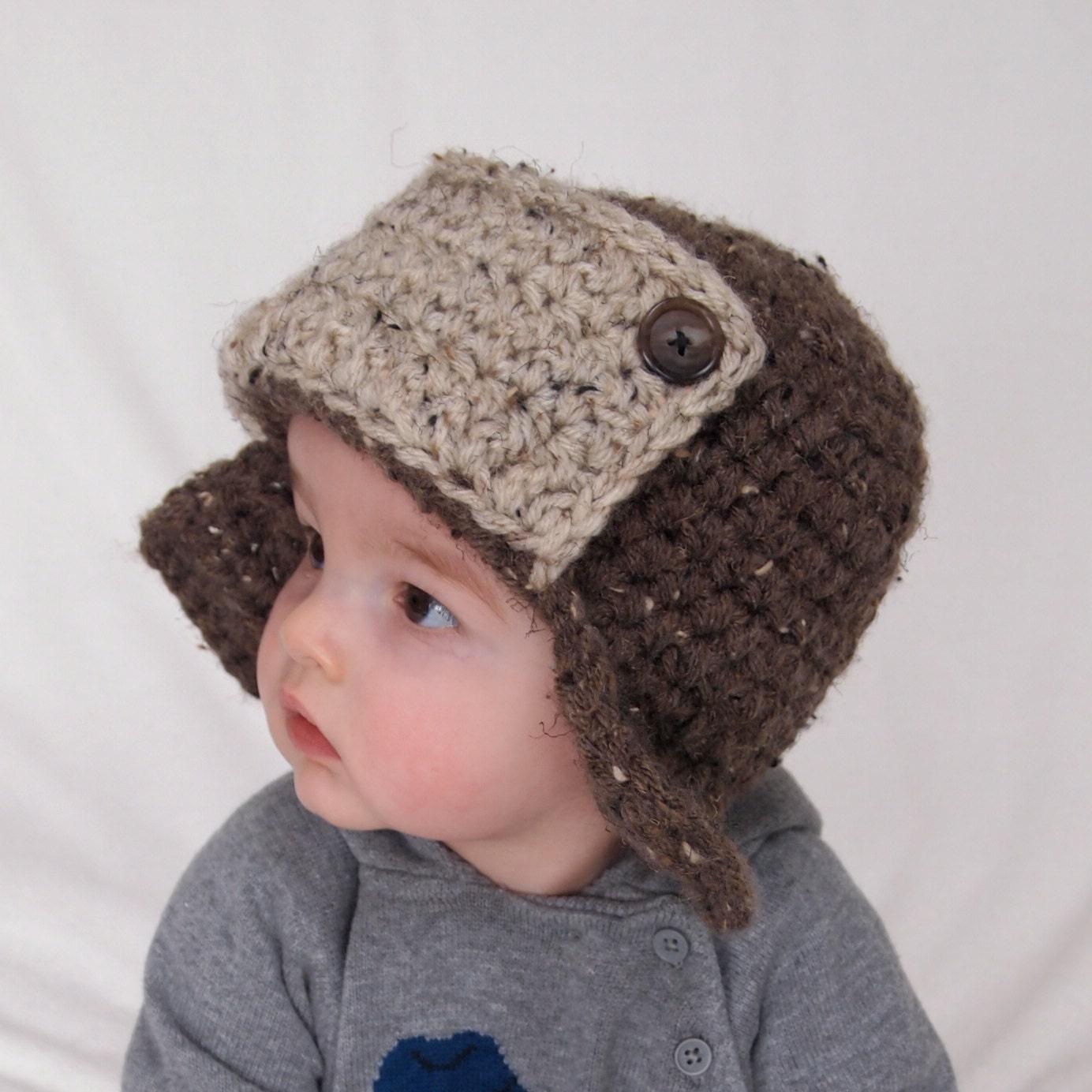 Child Crochet Aviator Hat Pattern : Baby Boy Hat Crochet Aviator Hat Infant Photo by BabyGraceHats