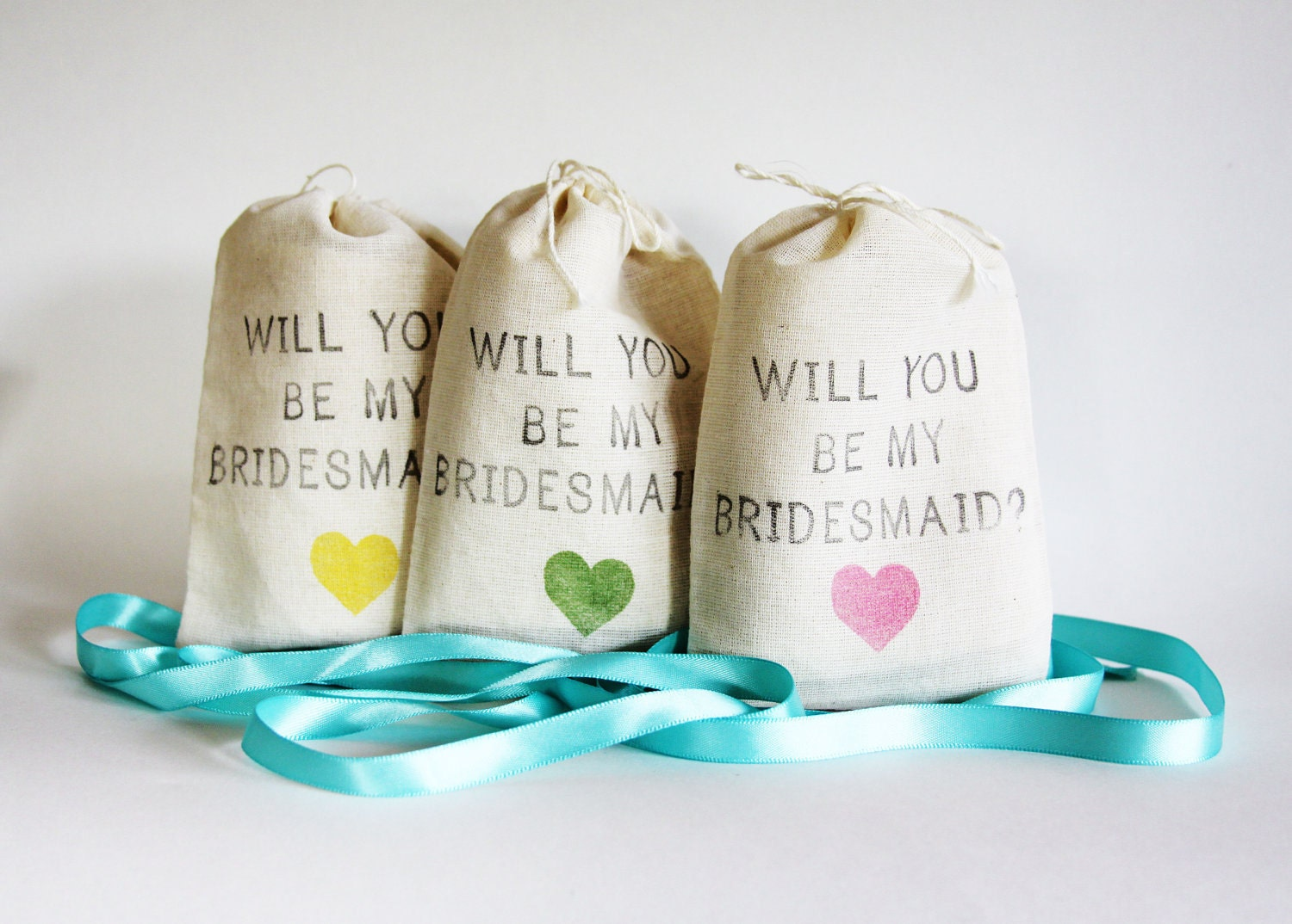 Will You Be My Bridesmaid muslin jewelry bags, rustic diy wedding