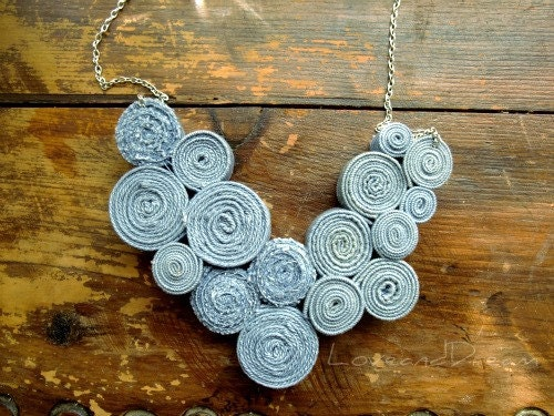 Recycled Denim Bib Necklace No10