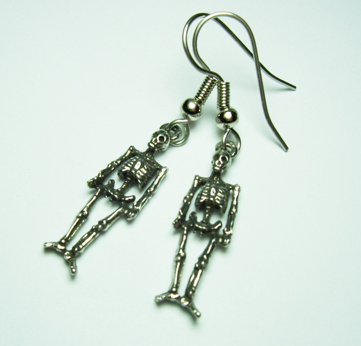 Antique Silver Detailed Skeleton Charms Halloween Gothic Lolita Earrings