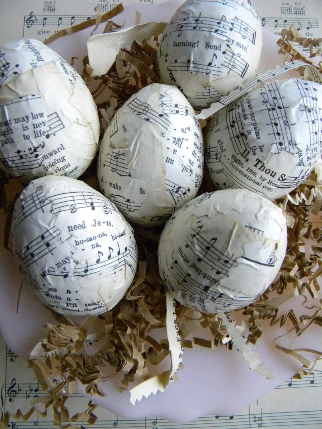 Vintage Hymnal Eggs...set of 6