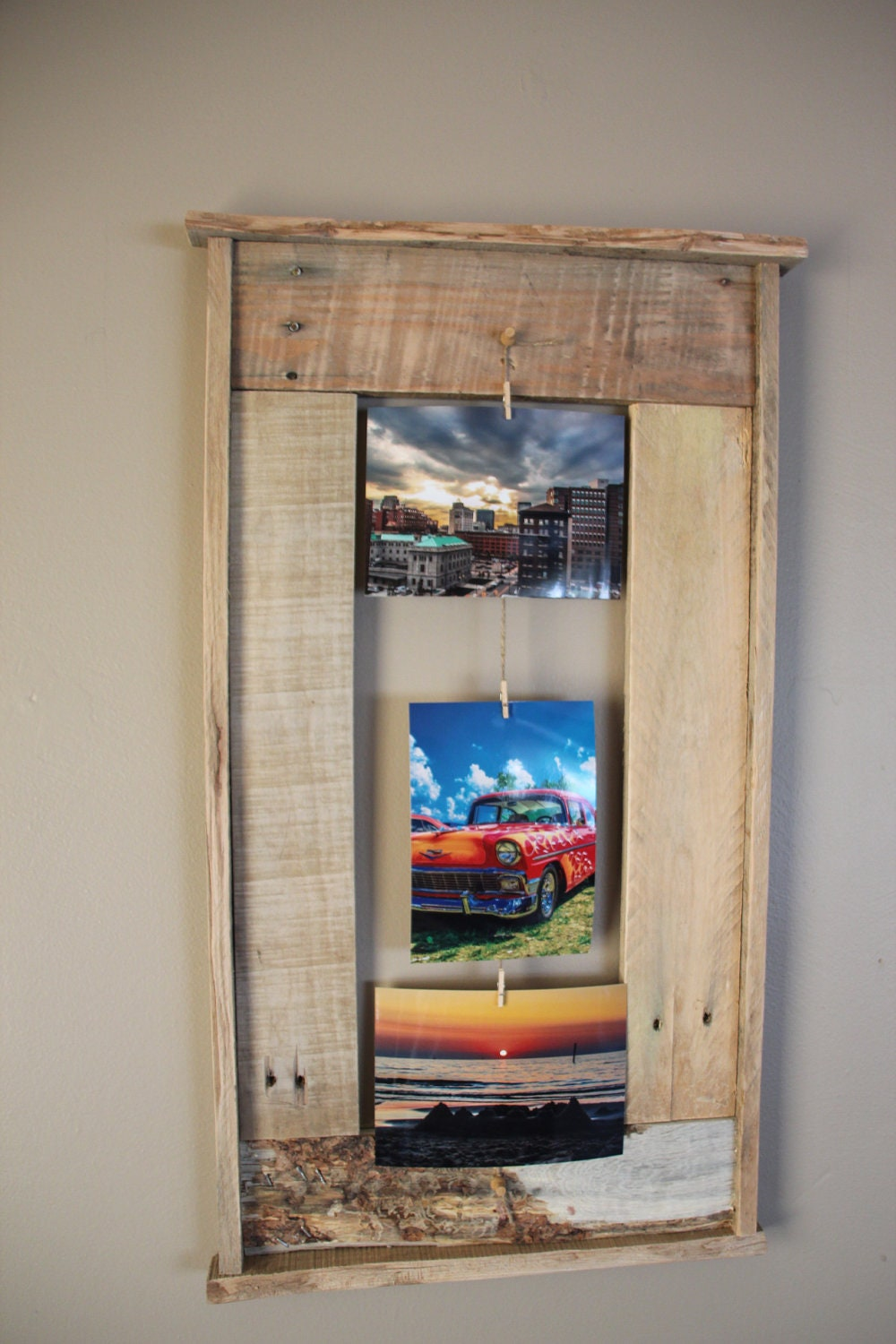 Wooden pallet frame... picture frame that holds 3 by ...