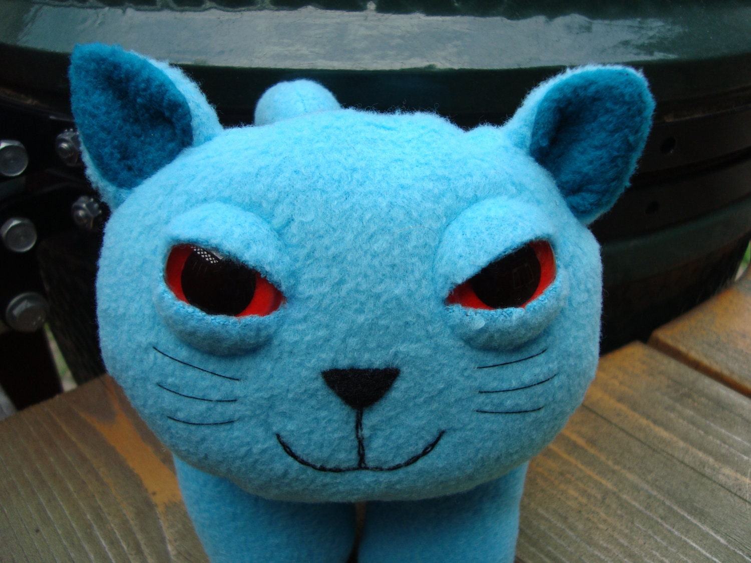 Stuffed animal plush kitty cat red eyes and aqua fleece - Buttons