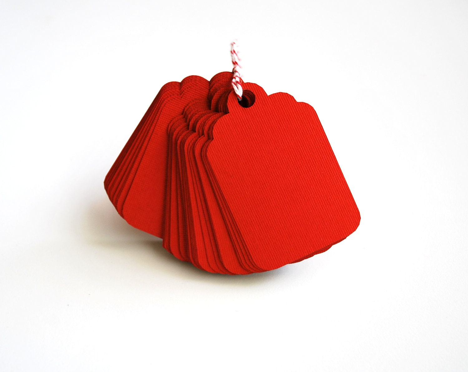 Valentine's Day 48 Red Gift Tags Textured Cardstock Die Cut A233