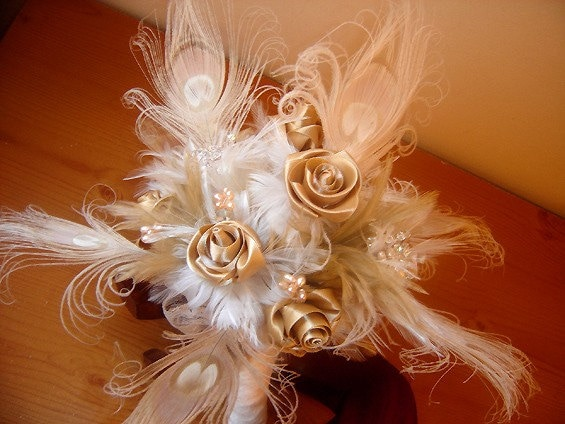 Bridal bouquet Peacock in ivory and champagne MADE TO ORDER