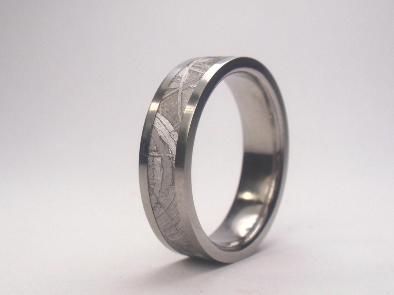 Titanium ring with Meteorite inlay