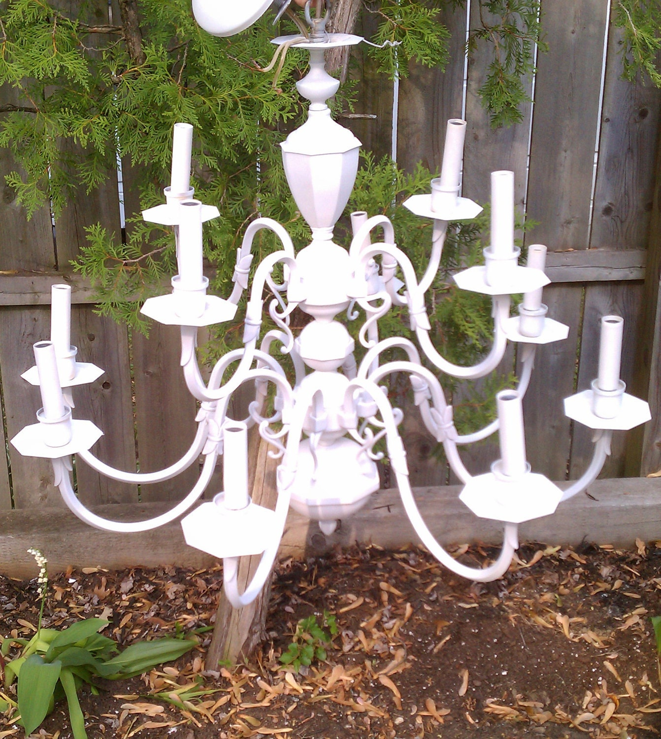 Price Reduced - Shabby Chic Chandelier / Upcycled From Brass