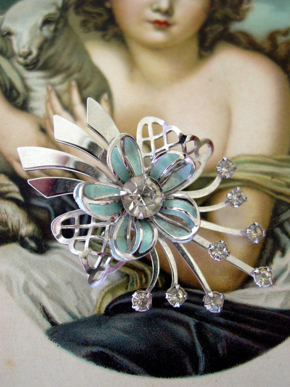 Aqua Floral Demure Enamel and Rhinestone Pendant brooch