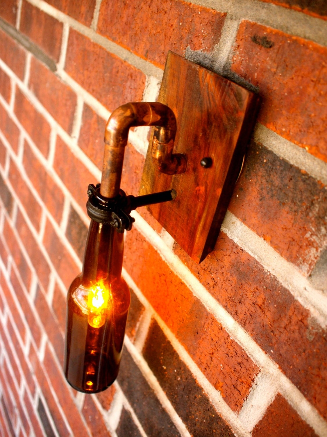 Industrial Interior Wall Lights : Beer Bottle Light Lamp Industrial Sconce Interior by BSquaredInc