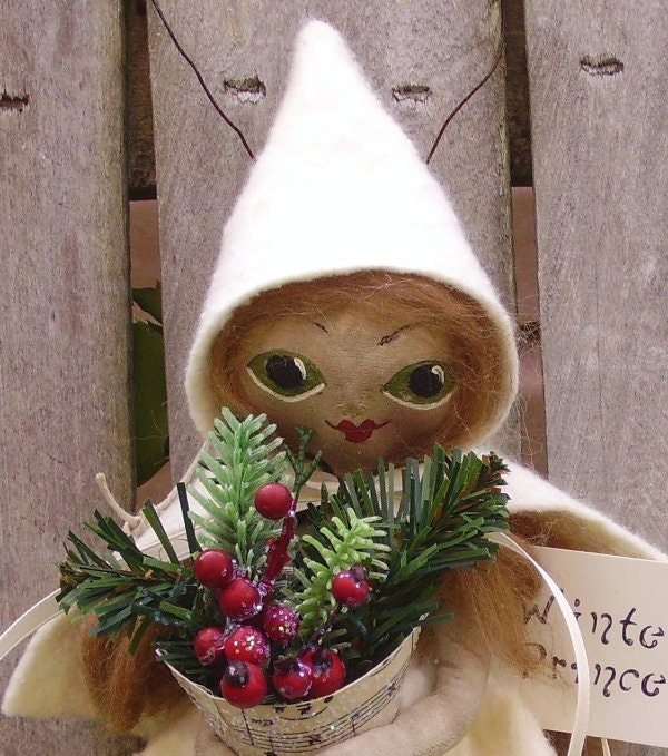 Primitive Folk Art Doll Christmas Winter Princess