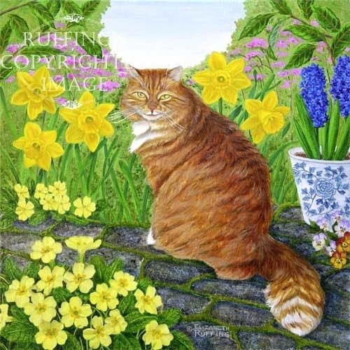 Orange Tabby Cat with Primroses and Daffodils 8.5 x 11 Giclee Fine Art Print Signed Elizabeth Ruffing - ruffings
