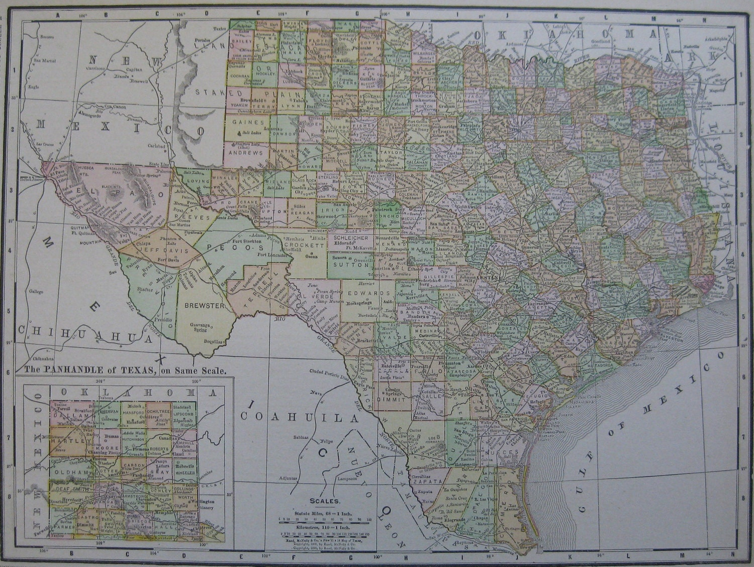 1911 Antique TEXAS Map BEAUTIFUL Vintage 1900s By Plaindealing