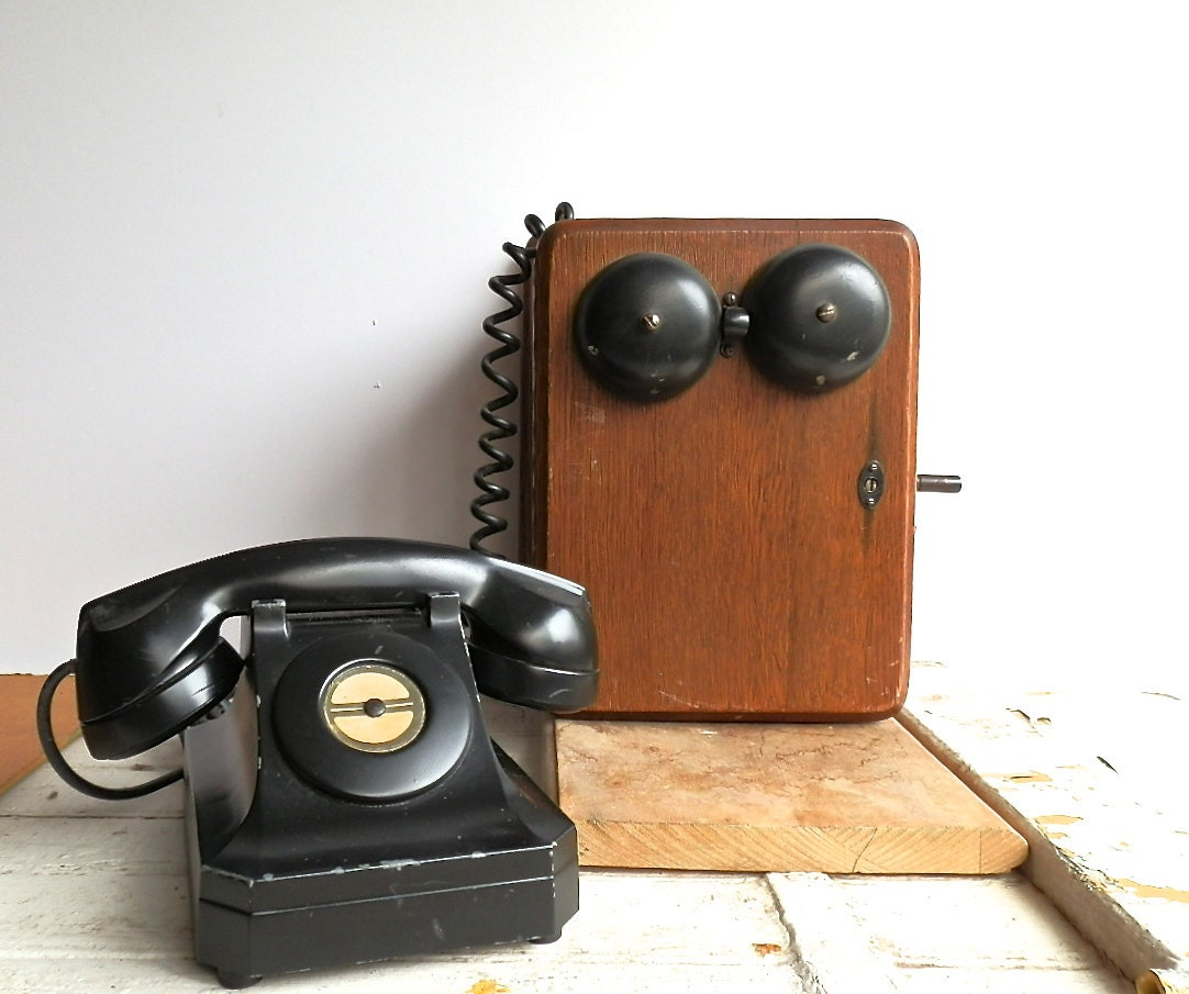 Vintage Bakelite Telephone Antique Wall by DairyFarmAntiques