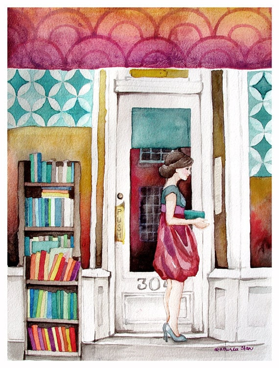 The Reader Watercolor - Bookstore - Fall Colors - Original Art - Painting 8x10