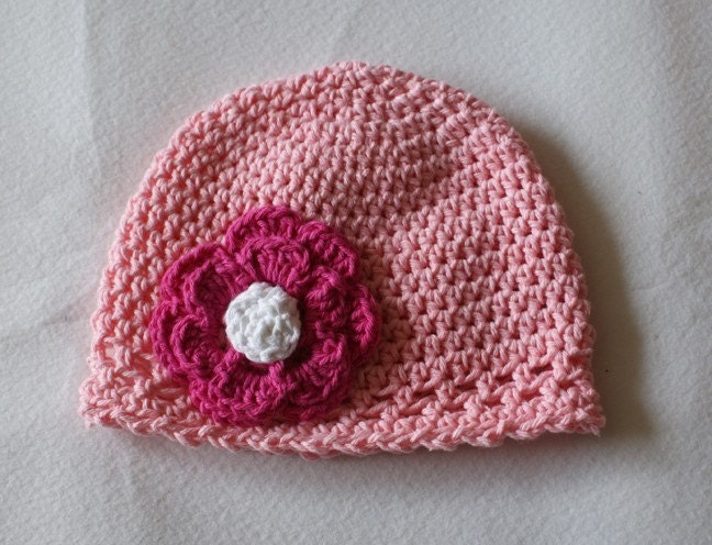 Crochet beanie hat with flower - Light Pink with Hot Pink flower