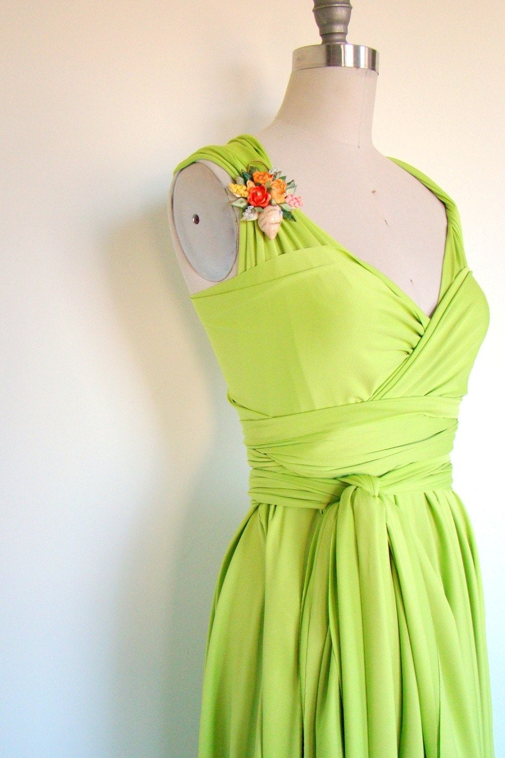 Doheny Vintage Lime Lux Convertible Wrap Dress