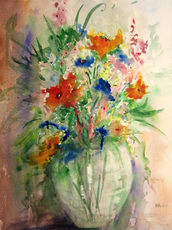 Flower Vase Print Of Original Watercolor Painting By Rpeppers