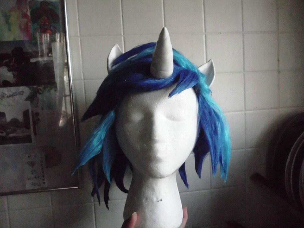 Unicorn Wig Scratch DJ Pon 3 Vinyl Wig Blue Unicorn Horn Costume Cosplay MLP Friendship is Magic
