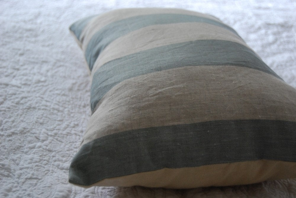 Shabby chic style beach house striped cushion blue grey kapok with vintage tea stained cotton