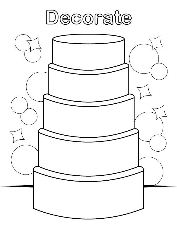 Decorate wedding cake coloring page sketch coloring page for Wedding cake coloring page