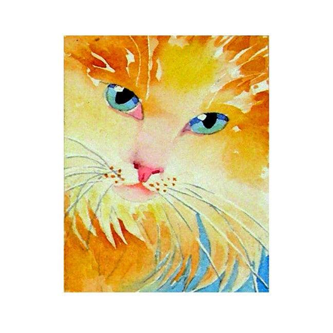 Cat Art Watercolor Painting Print Women Teen Girls Girls Long Hair Yellow ...